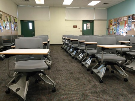 { Classroom fit for both lecture and group work. }