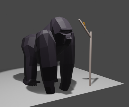 { Gorilla v2 (added big toes and re-colored) and mouse lemur to show extremes in modern primate size. }