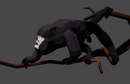 {Caption: Howler monkey with final pose but before final color tweaks. }
