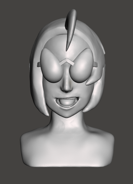 { Bust in Meshmixer almost ready for printing. The hair flippy would be printed en masse separately. }