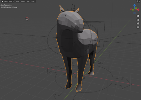 View of the Paraceratherium in mid-animation in Blender. The chonker has its head turned and slightly tilted, facing its right eye nearly towards you.
