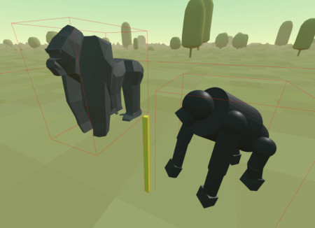 { First version of the gorilla model with the crude chimpanzee. The yellow block is literally a meter stick to check scale. }
